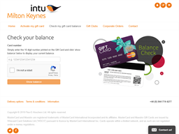 intu Milton Keynes gift card balance check