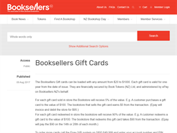 Booksellers NZ gift card purchase