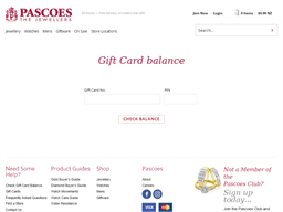 Pascoes The Jeweller gift card balance check