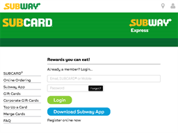Subway eGift Card gift card balance check