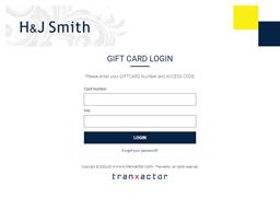 H&J Smith gift card balance check