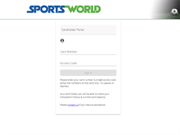 Sportsworld NZ gift card balance check