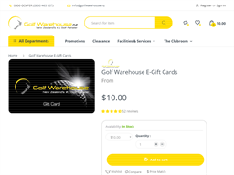 Golf Warehouse NZ gift card purchase