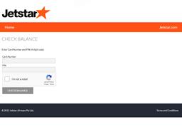 Jetstar gift card balance check