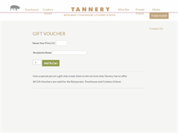 Tannery Restaurant gift card purchase