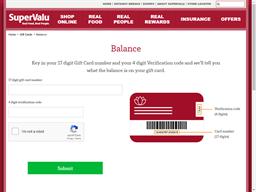 Super Valu gift card balance check