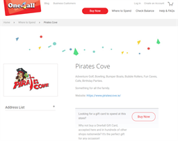 Pirates Cove gift card purchase