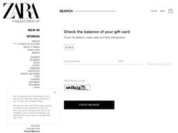 Zara Ireland gift card balance check
