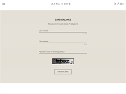 Zara Home gift card balance check