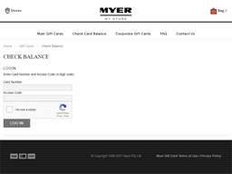 Myer Christmas Club gift card balance check