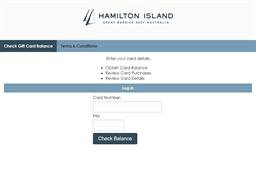 Hamilton Island gift card balance check