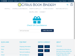 Citrus Book Bindery gift card balance check