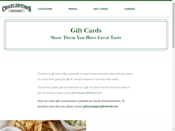 Charleston's Restaurant gift card balance check