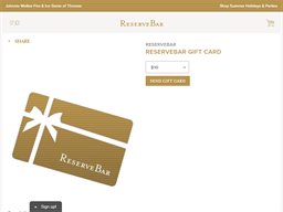 Reserve Bar gift card purchase