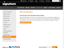 Signature Theatre gift card purchase