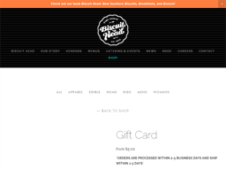 Biscuit Head gift card purchase