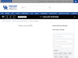Kentucky Wildcats Store gift card purchase