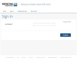 Wescom Credit Union gift card balance check