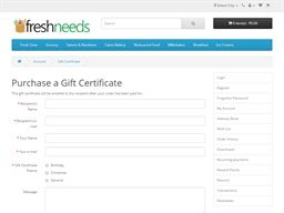 Freshneeds gift card purchase