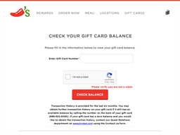 Chili's gift card balance check