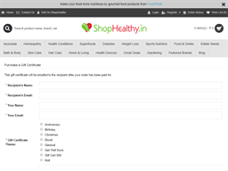 Shop Healthy gift card purchase