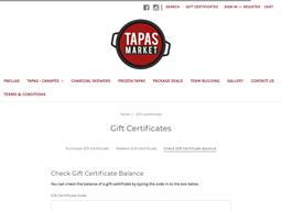 Tapas Market gift card balance check