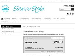 Sirocco Style gift card balance check