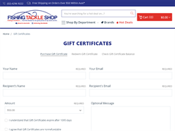 Fishing Tackle Shop gift card purchase