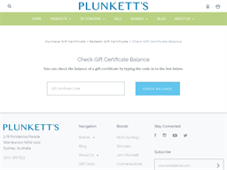 Plunketts gift card balance check