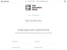 The Education Shop gift card purchase