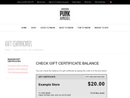 Punk Angel gift card balance check