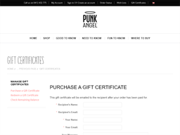 Punk Angel gift card purchase
