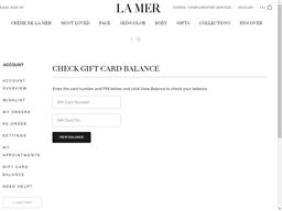 La Mer gift card balance check