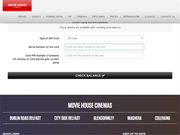 Movie House Cinemas gift card balance check