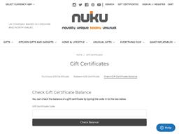 NUKU gift card balance check