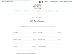 JNR Station gift card purchase