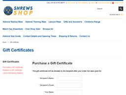 Shrewsbury Town FC gift card purchase