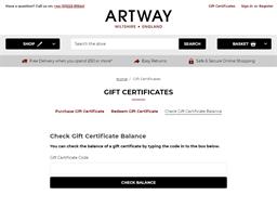Artway gift card balance check