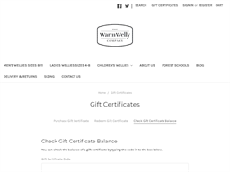 The Warm Welly Co gift card balance check