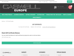 Caswell Europe gift card balance check