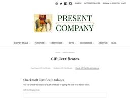 Present Company gift card balance check