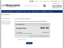 Pure Fitness & Sports gift card balance check