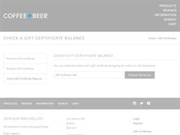 Coffee + Beer gift card balance check