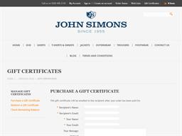John Simons gift card purchase