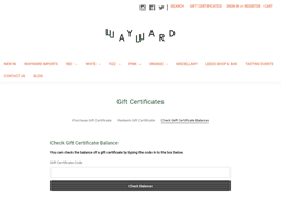 Wayward Wines gift card balance check