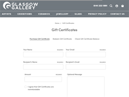 Glasgow Gallery gift card purchase