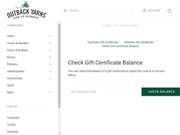 Outback Yarns gift card balance check