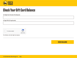 Buffalo Wild Wings gift card balance check