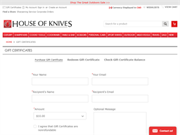 House of Knives gift card purchase