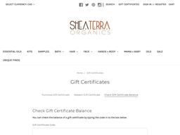 Shea Terra Organics gift card balance check